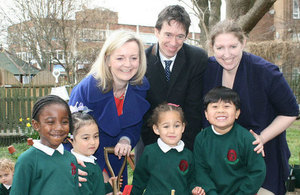 Elizabeth Truss and Rory Stewart at Griffin Primary School in London