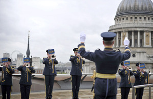 The Fanfare Trumpets of the Central Band of the Royal Air Force rehearse on the roof terrace of One New Change which overlooks St Paul's Cathedral