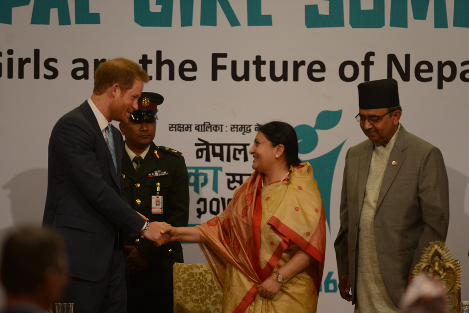 His Royal Highness Prince Harry shakes hands with President Bhandari at the Nepal Girl Summit. Picture: UNICEF Nepal