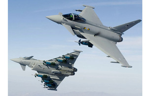 RAF Typhoon aircraft laden with Paveway 2 bombs (stock image)