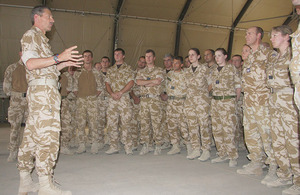 Air Chief Marshal Simon Bryant addresses RAF personnel
