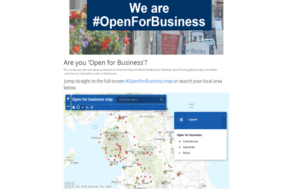 Open for business map