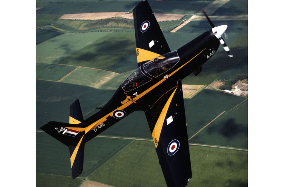 A Tucano aircraft of No 1 Flying Training School in a steep climb (stock image)