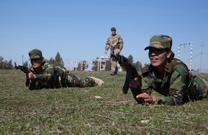 Female Peshmerga troops receive training from British Army personnel in Northern Iraq