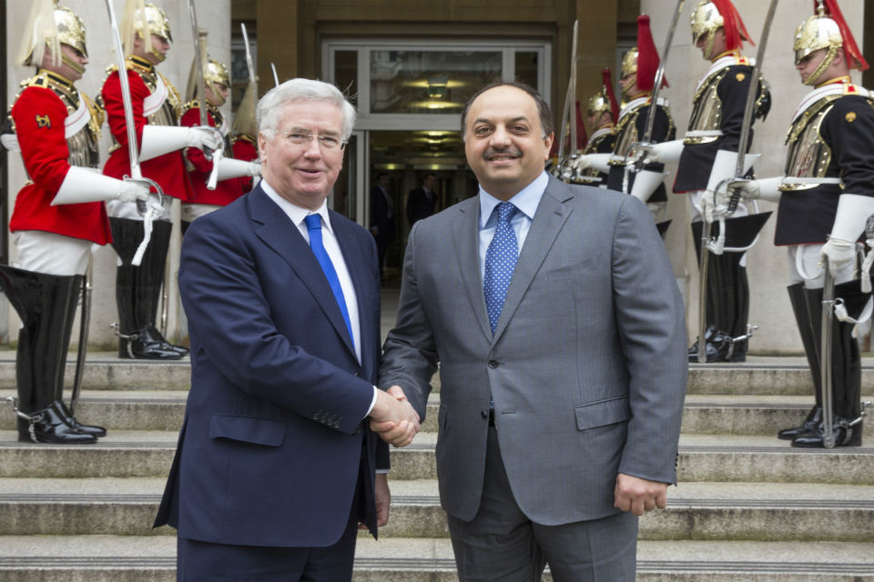 Defence Secretary Michael Fallon with Qatari Defence Minister, His Excellency Dr. Khalid bin Mohammed Al Attiyah during his visit to London to sign the DCA. Picture: Crown Copyright.