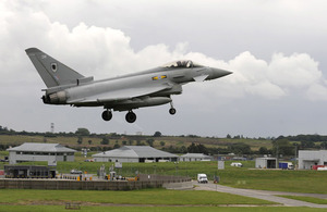 An RAF Typhoon aircraft landing at RAF Northolt in West London