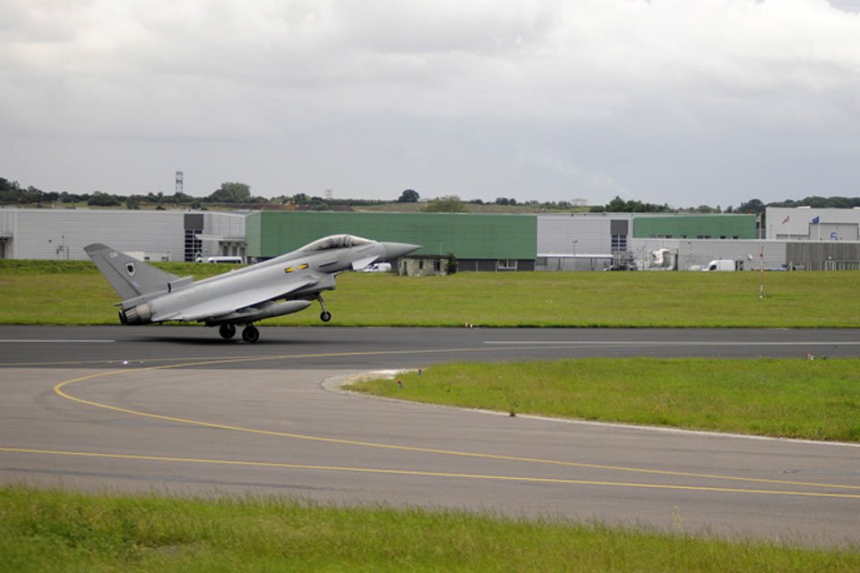 An RAF Typhoon touches down at RAF Northolt