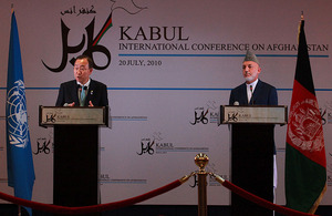 United Nations Secretary-General, Ban Ki-moon, with Afghan President Hamid Karzai at the Kabul Conference