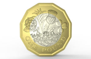 The tails side of the new £1 coin