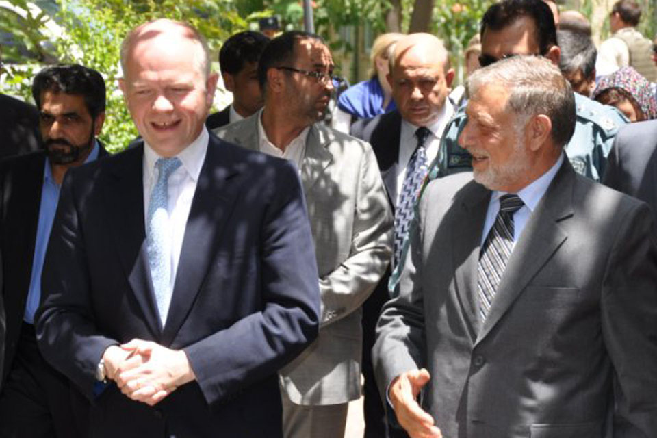Foreign Secretary William Hague meets Provincial Governor Nuristani in Herat, Afghanistan, ahead of Tuesday's conference