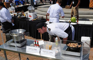 A Royal Navy chef from HMS Montrose competing in the Louisiana seafood cook-off