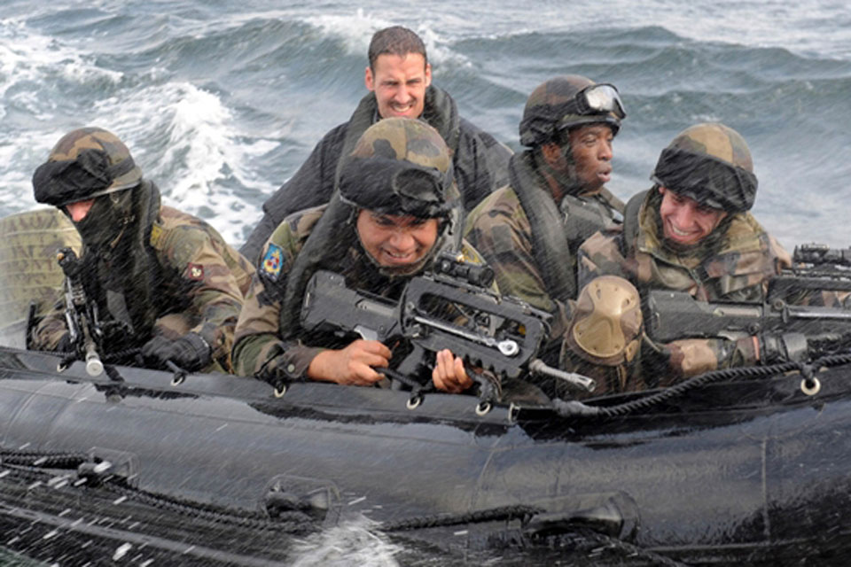 French Marines in a Zodiac rigid inflatable boat during Joint Warrior