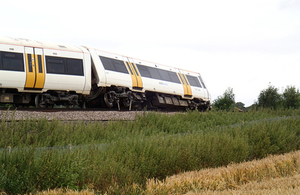 Image showing derailed leading vehicle of incident train
