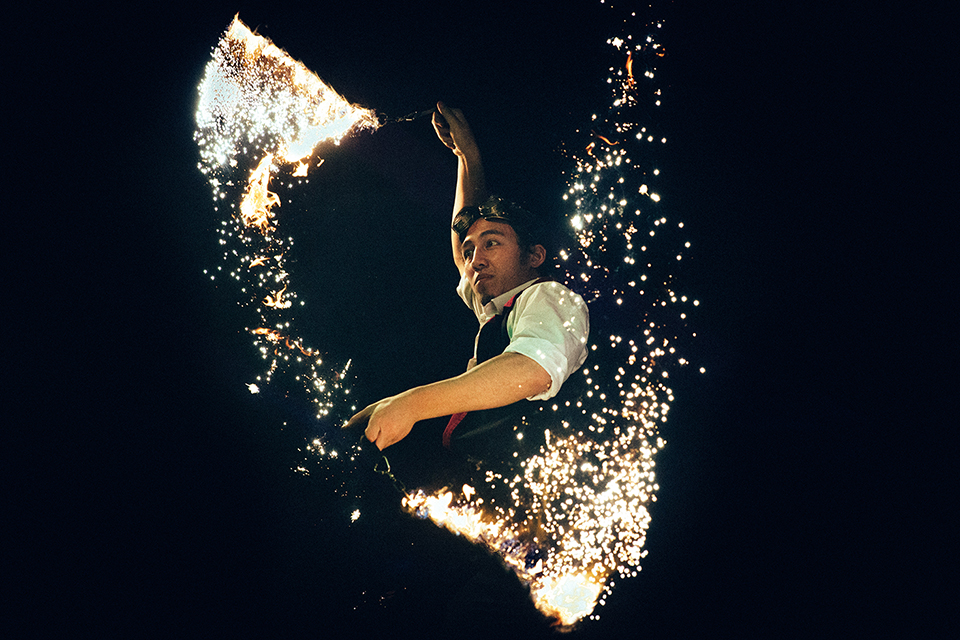 Man performing with fireworks
