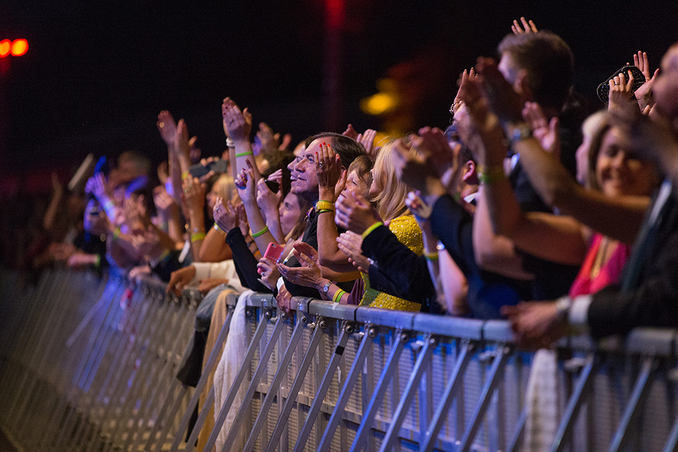 Front row crowd at a concert