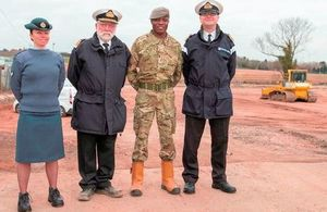 Sergeant Anna Fairfoull, Surgeon Vice Admiral Alasdair Walker, Lance Corporal Stanley Kodia, Lieutenant Commander Julian Despres, on the site of the new building (Photo: Hi-Pix Photography Ltd. All rights reserved)