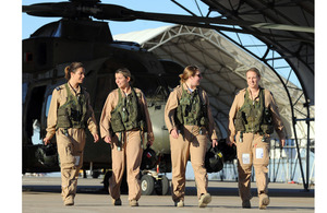 From left: Sergeant Stephanie Cole, Flight Lieutenants Michelle Goodman and Joanna Watkinson, and Sergeant Wendy Donald during training in southern California to fly Merlin helicopters in Afghanistan
