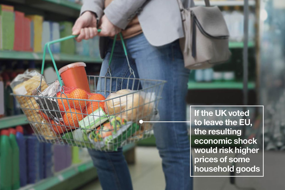 Woman with shopping basket. Text on image reads: If the UK voted to leave the EU, the resulting economic shock would risk higher prices of some household goods