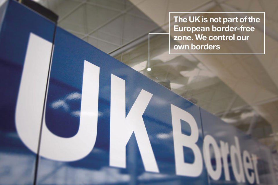 UK border sign. Text on image reads: The UK is not part of the European border-free zone. We control our own borders.