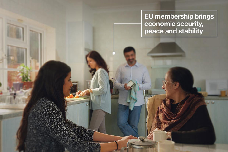Family in kitchen. Text on image reads: EU membership brings economic security, peace and stability.