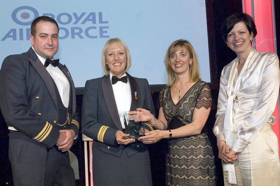 Squadron Leader Glynnis Dean receiving the Inspiring the Workforce of the Future Award at the 15th annual Opportunity Now Awards ceremony