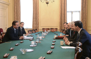 The Prime Minister meeting Welsh First Minister Carwyn Jones and other UK government ministers in Downing Street.