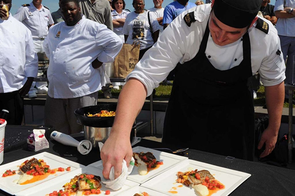 Military chefs from the USA, France, Canada and the UK competed in the Louisiana seafood cook-off