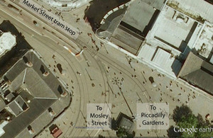 Layout of tracks in vicinity of Market Street tram stop