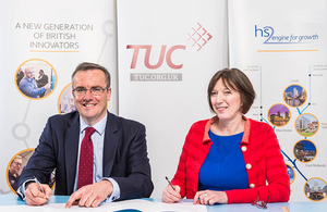 HS2 Ltd Chief Executive, Simon Kirby, and TUC General Secretary, Frances O'Grady, signing an initial framework agreement between High Speed Two Ltd and the Trades Union Congress (TUC)