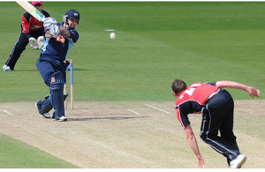 An RAF batsman faces an Army bowler during the Inter Services Twenty20 Cricket Tournament