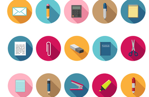Icons of various stationery items such as paper clips, pencils and staplers set in colorful round backgrounds