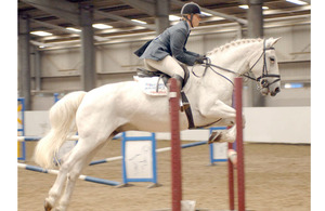 Wing Commander Dawn Elson, riding Mr Willoughby, competing for the Loriners Trophy