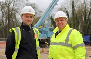 Hill's Project Director Ryan Harris and DIO Project Manager Neal Walters at the MOD housing development site in Tidworth.(Photo: Nicole Herlihy, MOD Crown Copyright). All rights reserved.