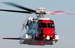 Coastguard search and rescue helicopter.