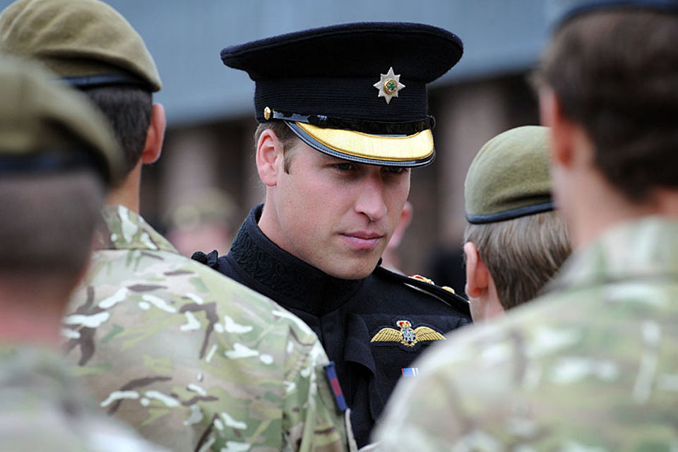 Prince William meets soldiers of the Irish Guards at Victoria Barracks in Windsor