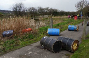 23 barrels of unknown chemicals were dumped in Derbyshire and a Nottinghamshire nature reserve