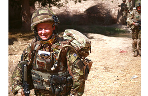 Sergeant Karen Swallow RAF patrols with 42 Commando Royal Marines