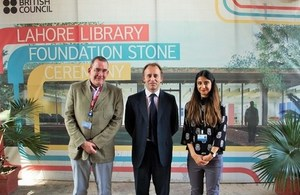 British High Commissioner, Mr. Thomas Drew CMG, with Mr. Murray Keeler and Maayra Rehman during a visit to construction site of the British Council's Library in Lahore.
