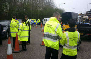 Officers checking vehicles as part of Operation Rogue Trader