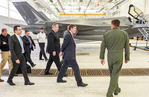 Deputy Defense Secretary Bob Work and United Kingdom Minister of State for Defense Procurement Philip Dunne tour the Marine Fighter Attack Training Squadron 501 on Apr. 14, 2016. (DoD photo by U.S. Army Sgt. 1st Class Clydell Kinchen)(Released)
