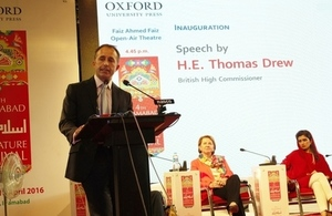 The British High Commissioner to Pakistan, Thomas Drew CMG, spoke at the Islamabad Literature Festival at Lok Virsa Islamabad