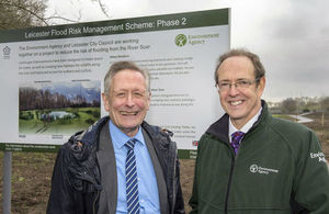 Sir James Bevan and Mayor of Leicester Sir Peter Soulsby at the Leicester flood defence project