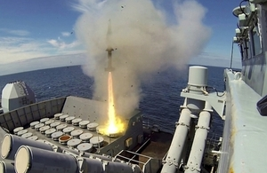 A Sea Wolf surface to air missile leaves the launcher onboard Type 23 frigate HMS Montrose during an exercise.
