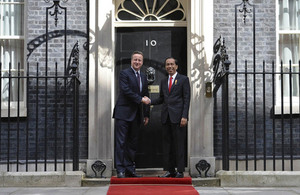 Prime Minister David Cameron and President Joko Widodo of Indonesia outside Number 10 Downing Street.
