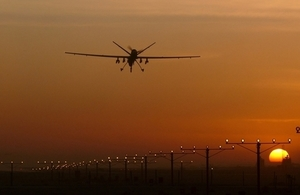 A Reaper Remotely Piloted Air System (RPAS) comes into land at Kandahar Airbase in Helmand, Afghanistan.