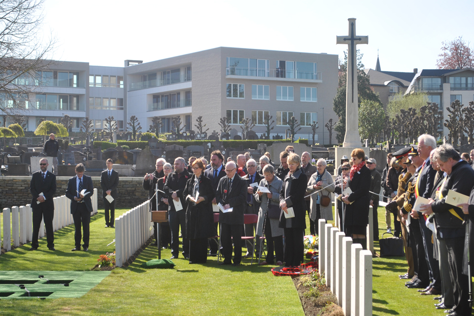 The families of Venus and Rowbottom attend service. © Crown Copyright. All rights reserved