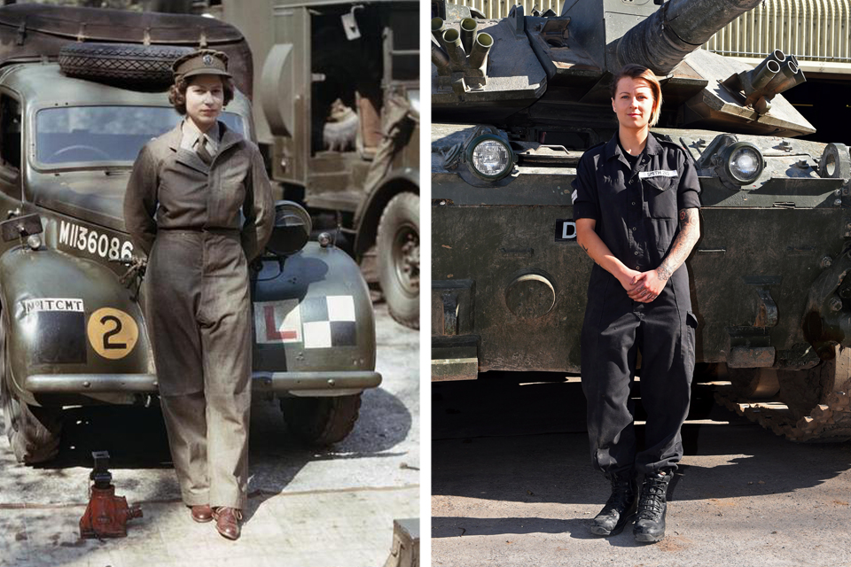 Left, 18-year-old Princess Elizabeth at work in the ATS. Right, Corporal Rebecca Smith in front of a Challenger 2 tank. Pictures: IWM/Crown Copyright