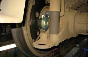 Image of underside of train with monitoring device on wheel bogie.