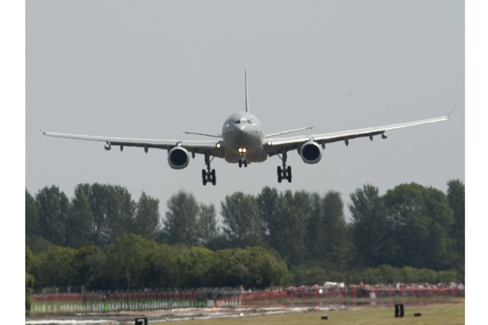 The RAF'S new strategic tanker aircraft, officially named Voyager, arrives at RAF Fairford