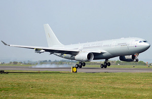 The first RAF Voyager transport and tanker aircraft touches down at Boscombe Down in Wiltshire